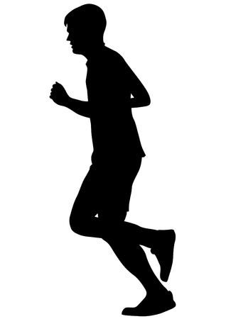 group of young adults: People athletes on running race on white background Illustration