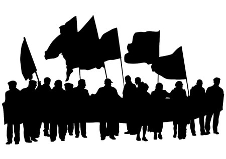 anarchy: People of with large flags on white background Illustration