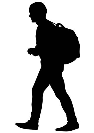 Younge man with backpack on white background