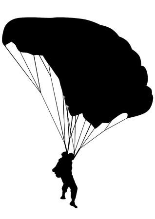 skydiver: Man on parachute sports on a white background