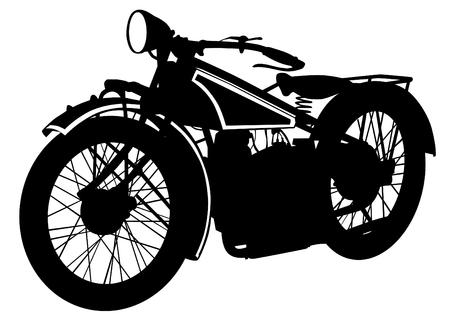 motorizado: Moto grande viejo en el fondo blanco Vectores