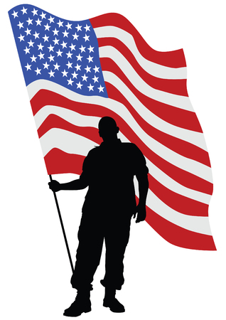 hick: Soldier in uniform with american flag Illustration