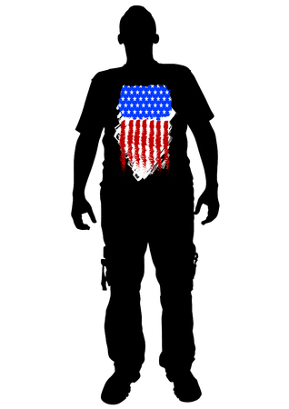 Soldier in uniform with american flag Vector Illustration