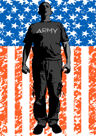 Soldier in uniform with american flag Illustration