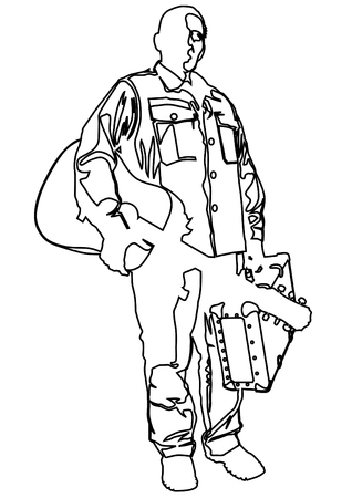 Man with an acoustic guitar and suitcase in his hands on white background Illustration