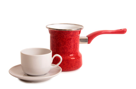 Metal pots for coffee on a white background Stock Photo