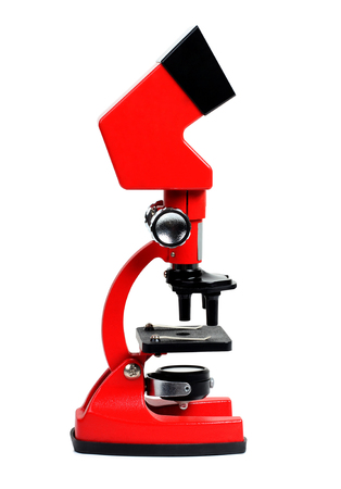 Microscope for biology and flasks on white background