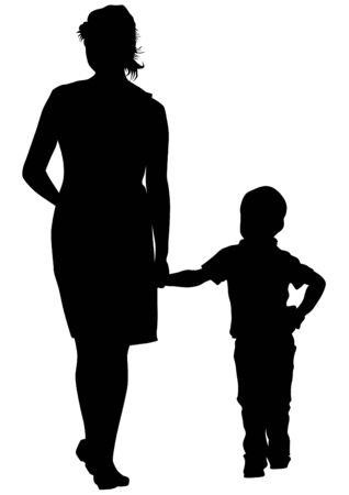 children silhouettes: Families with child.
