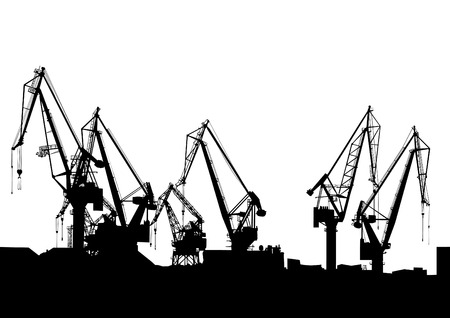 Cargo cranes in the seaport on white background