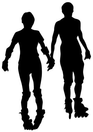Mensen atleten van schaatsen op witte achtergrond