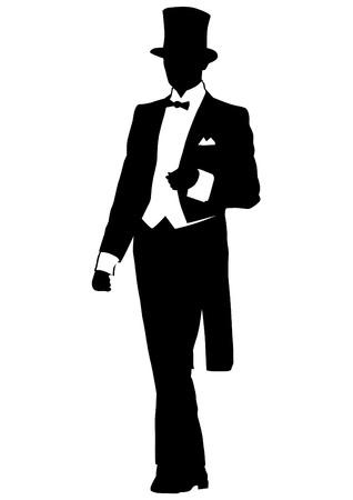 Hombre con abrigo y un sombrero de copa. Ilustración de vector