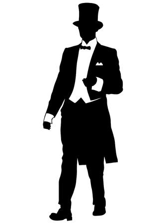 Man in dress coat and a top hat on a white background