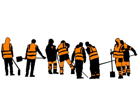 construction: Road workers and construction equipment on a white background