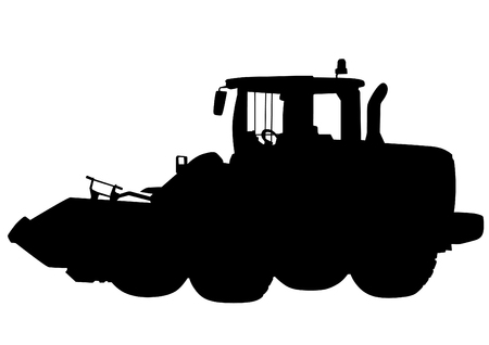 Road workers and construction equipment on a white background