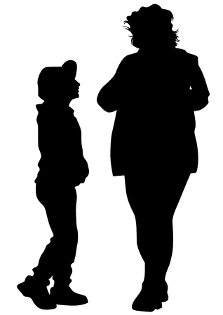 Families with little child on white background Vetores