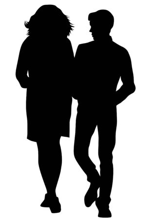Couple of young guy and girl on white background.