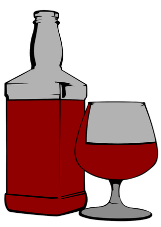 Bottle and glass of brandy icon.