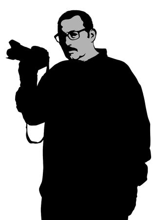 Man with a camera on a white backdrop. Illustration