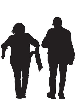 family isolated: Couple of elderly people on white background