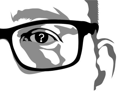 안경과 물음표가있는 인간의 눈 일러스트