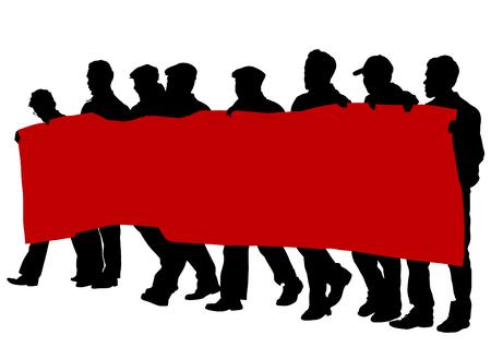 Personas de con grandes banderas sobre fondo blanco Foto de archivo - 88047307