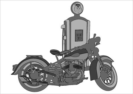 Old motorcycle at a gas station on a white background.
