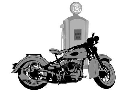 Old motorcycle at a gas station on a white background