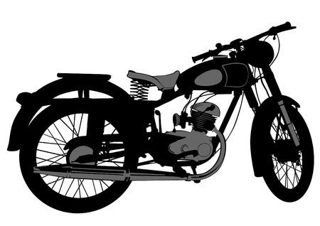 Vecchio grande moto su sfondo bianco
