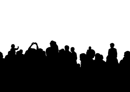 Crowd of spectators at a concert silhouette.