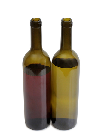 Glass and bottle wine on white background Stock Photo