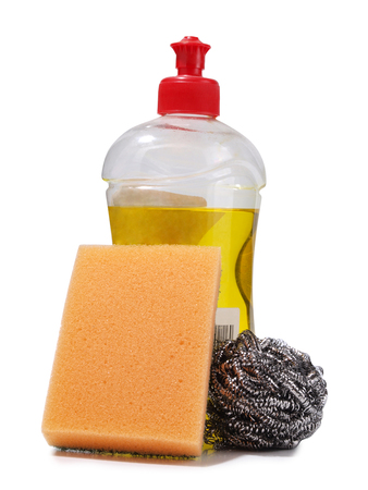 Protective and cleaning products on white background Stock Photo