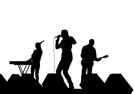 De muzikale illustratie van het groepssilhouet op stadium op witte achtergrond