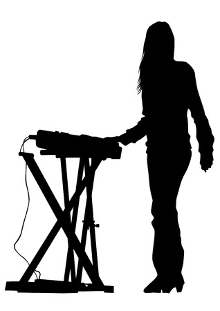 Pianist of rock band on a white background Vectores