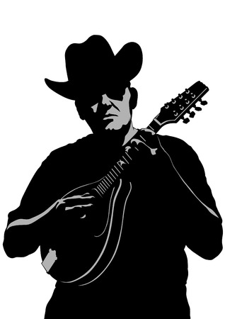Musician with a mandolin in a country style on a white background