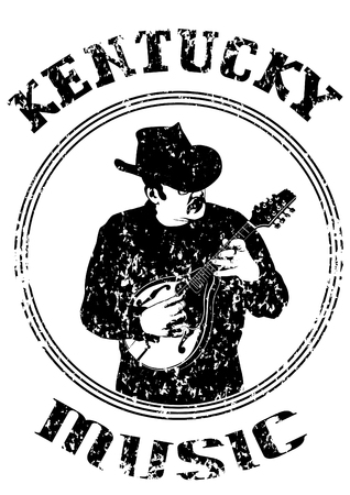 Cowboy in hat with mandolin on a white background Illustration