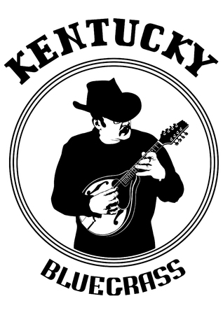 Cowboy in hat with mandolin on a white background Vetores