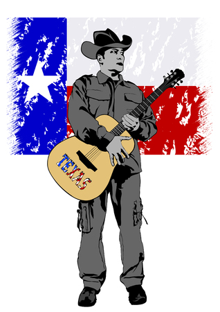Cowboy in hat with guitar on a white background Illustration