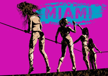 Girls in bikini holding a wire dancing.