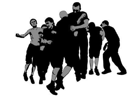 Fighting young street hooligans against a white illustration.