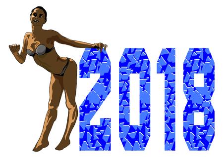 Beautiful girl in bikini and new year figures Illustration