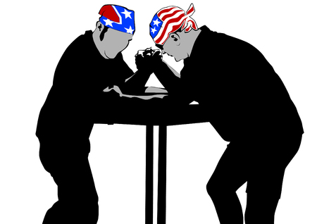 Two men compete in arm wrestling against white illustration.