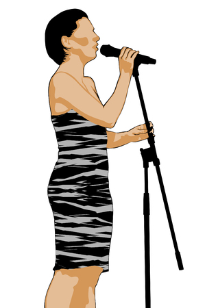 Young singer in a dress with a microphone on a white background Illustration