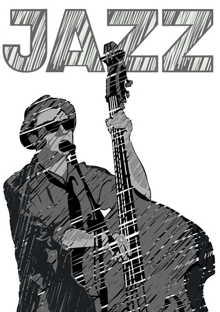 Musician with bass in country style on a white background Ilustração