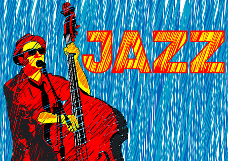 Musician with bass in jazz style on a white illustration. Illustration