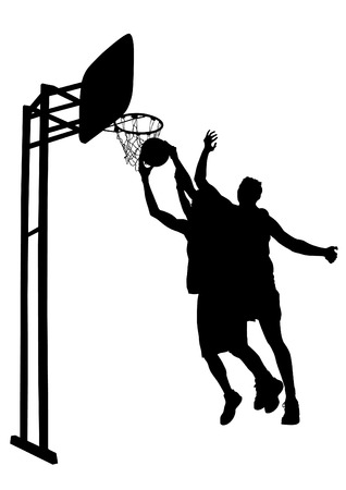 Athlete jumping with ball on white background.