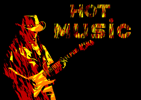 Musician with guirar in blues style on white background  イラスト・ベクター素材