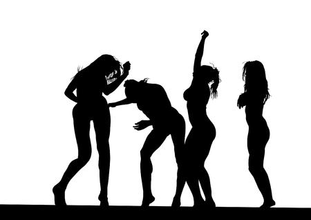 Girls in a bikini dance at disco party