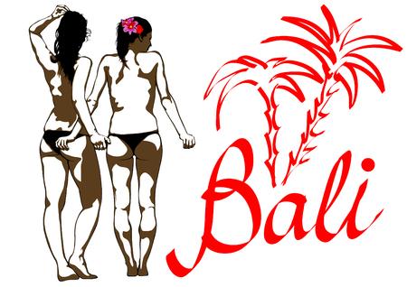 Girl in bikini in sea on white background Иллюстрация