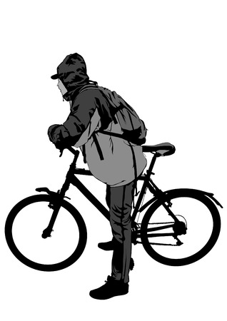 Sport people whit bike on white background Illustration