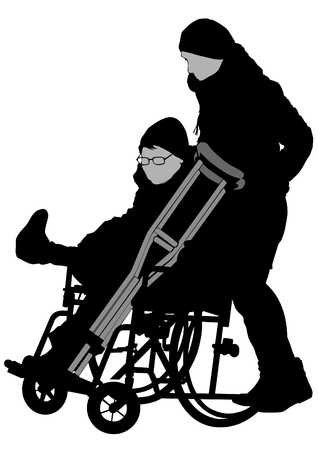Woman in a wheelchair on a white background Ilustração